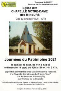 Journées du patrimoine 2021 @ Chapelle des mineurs du champ Fleuri